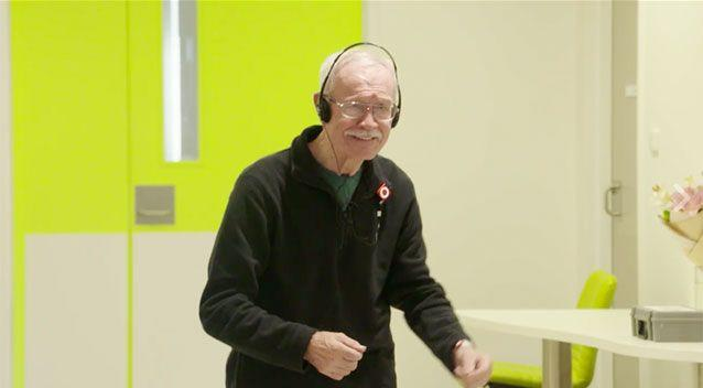 Transformed dementia patient Sean O'Malley clicks his fingers and shakes his hips while listening to an Elvis classic in hospital. Picture: Western Sydney Health