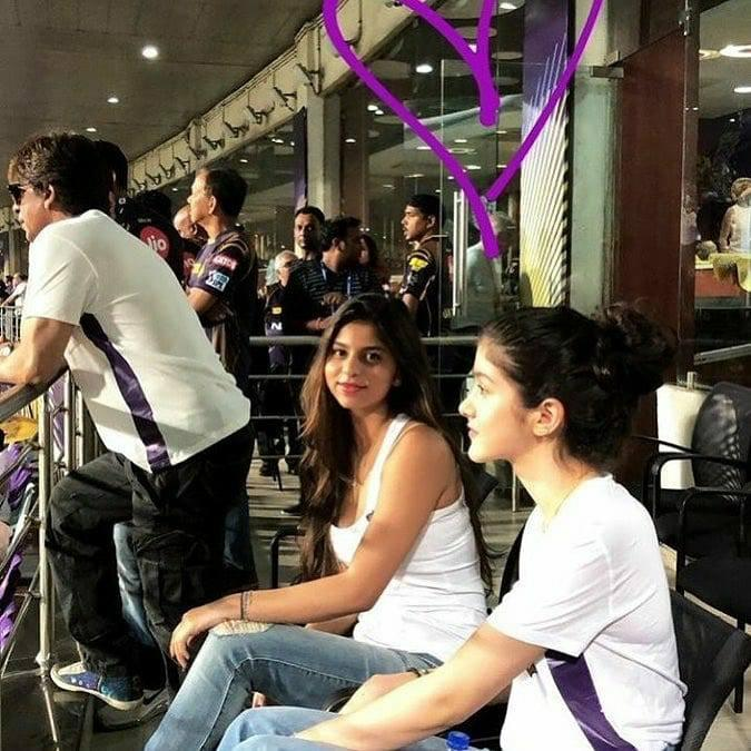 <p>Celebrations were in order when SRK's team Kolkata Kolkata Knight Riders beat Virat Kohli's 11th season of the Indian Premier League Royal Challengers Bangalore on April 8 in at Eden Gardens. SRK apparently considers his offsprings, lucky charms. A family that cheers a team together stays together! The delirious cheer squad – Suhana, Shanaya Kapoor, SRK and AbRam joined the team on the ground after the win. </p>
