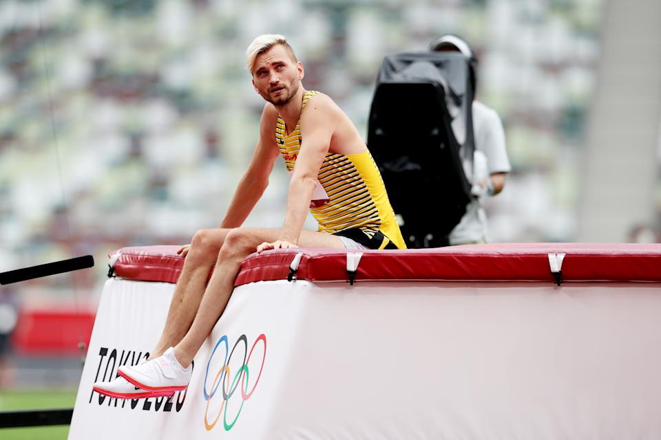 TOKYO, JAPAN - JULY 30: Mateusz Przybylko of Team Germany reacts after competing in the Men's High Jump Qualification on day seven of the Tokyo 2020 Olympic Games at Olympic Stadium on July 30, 2021 in Tokyo, Japan. (Photo by Michael Steele/Getty Images)