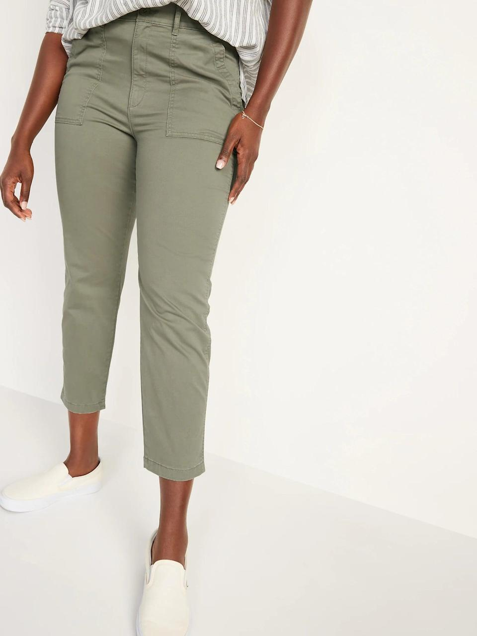 <p>Wear these cropped <span>Old Navy High-Waisted Utility Ankle Chino Pants</span> ($35) on a casual fall day out (instead of jeans or joggers).</p>