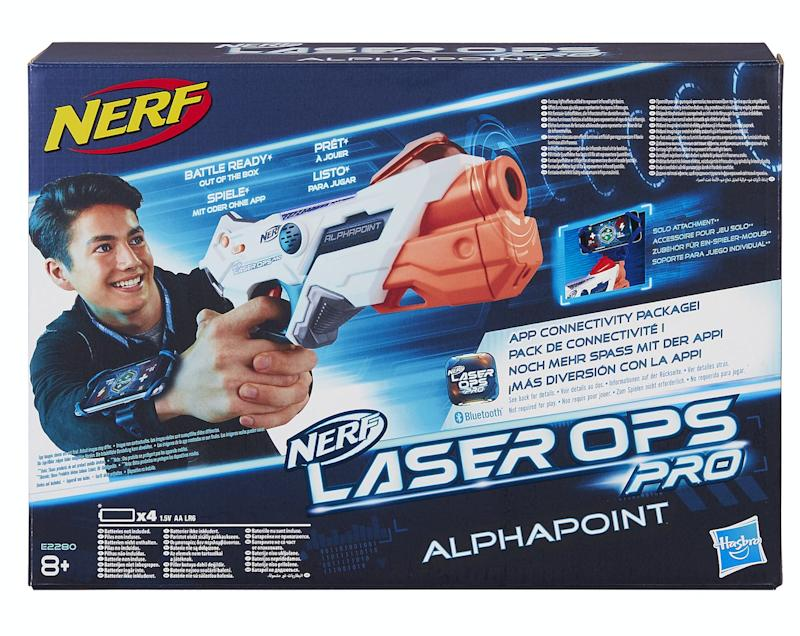 """This one will please parents: instead of having a Nerf toy that fires out foam arrows, these new ones rely totally on lasers, so there's no picking them up off the floor. Even better there's a single player option if your little one doesn't have siblings to play with.<br />Price: &pound;45<br />Ages: 8+<br /><a href=""""http://hamleys.com/nerf-laser-ops-alphapoint-double-pack.ir"""" target=""""_blank"""" rel=""""noopener noreferrer"""">Click here to buy.</a>"""