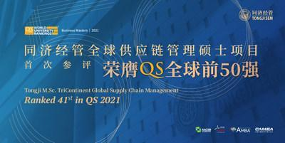 Tongji M.Sc. TriContinent Global Supply Chain Management Ranked 41st in QS 2021