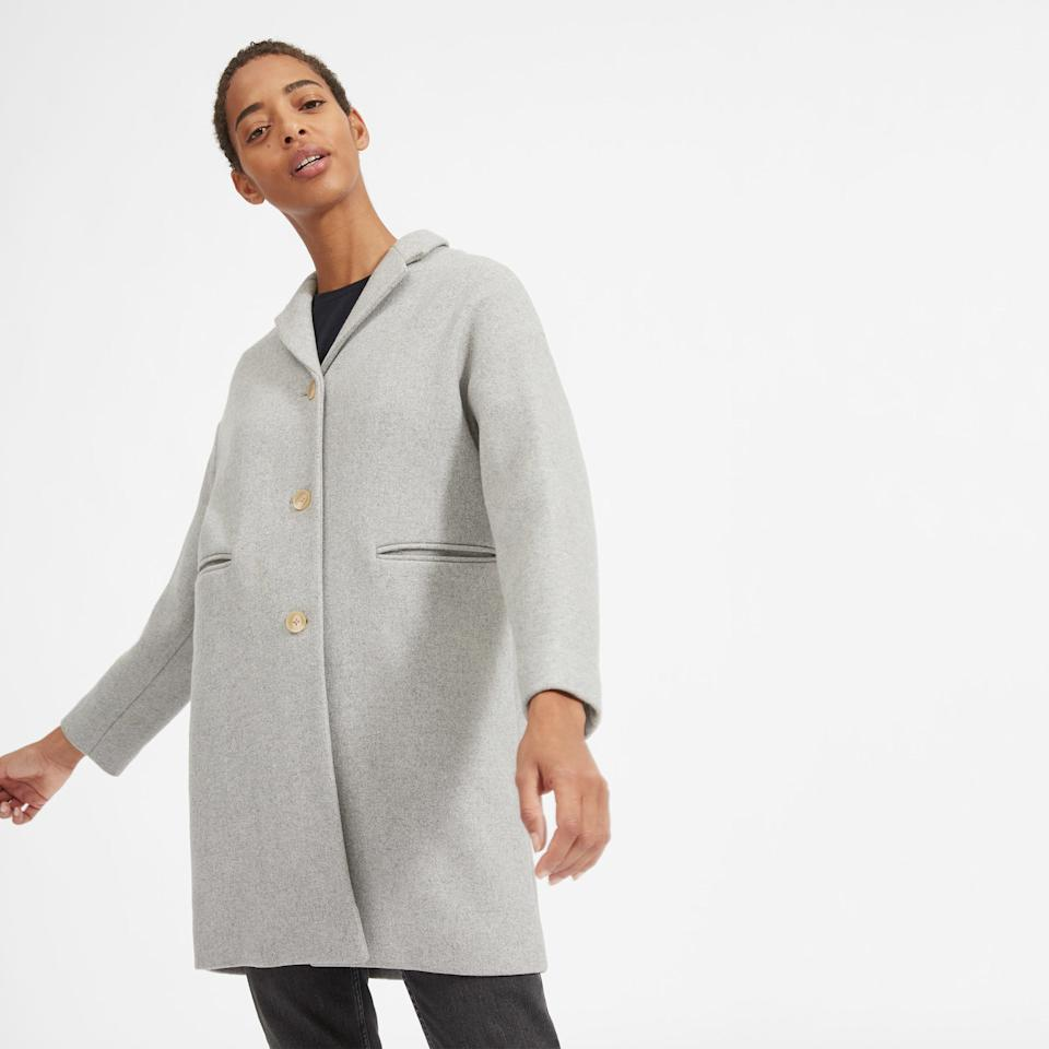 "With a chic oversized fit, this cocoon coat is made from a soft double-faced wool-nylon blend—and plenty of stylish attention to detail. $250, Everlane. <a href=""https://www.everlane.com/products/womens-cocoon-coat-lightheathergrey?collection=womens-outerwear"">Get it now!</a>"