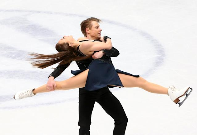 Figure Skating - World Figure Skating Championships - The Mediolanum Forum, Milan, Italy - March 24, 2018 Lithuania's Allison Reed and Saulius Ambrulevicius during the Ice Dance Free Dance REUTERS/Alessandro Bianchi