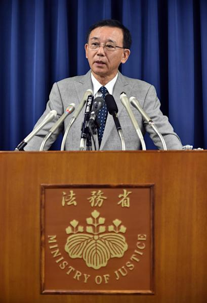 Japanese Justice Minister Sadakazu Tanigaki speaks during a press conference in Tokyo to announce Japan executed a mobster and a killer arsonist, August 29, 2014 (AFP Photo/Yoshikazu Tsuno)