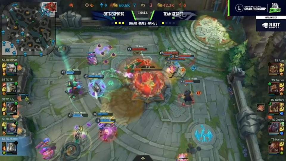 The winning moment for SBTC Esports in game five of the grand finals. (Screenshot courtesy of Riot Games)