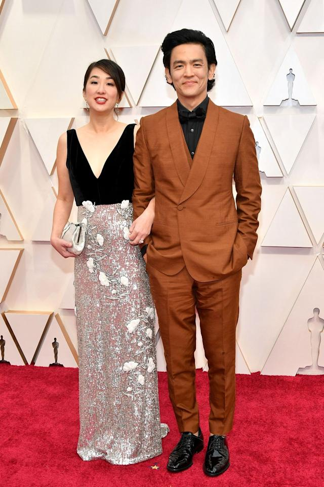 <p>Actor John Cho (who announced the Oscar nominations for this year alongside actress/writer Issa Rae) with his wife, Kerri Higuchi</p>