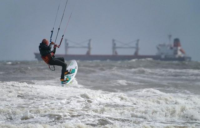 But it wasn't all bad - these kite surfers took full advantage of the stormy conditions last week