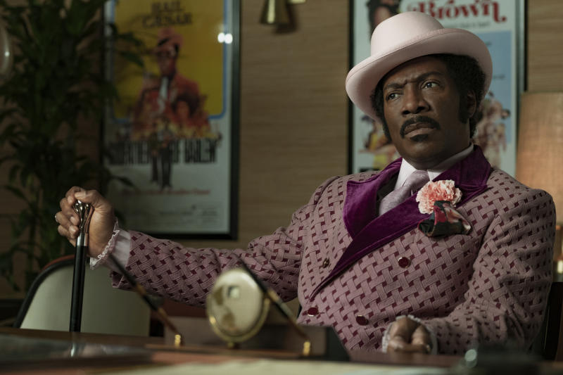 """This image released by Netflix shows Eddie Murphy in a scene from """"Dolemite Is My Name,"""" which will be shown at the Toronto Film Festival. (François Duhamel/Netflix via AP)"""