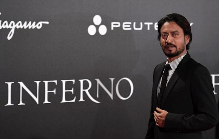 File image: Irrfan Khan at the premiere of the film, Inferno, in Italy