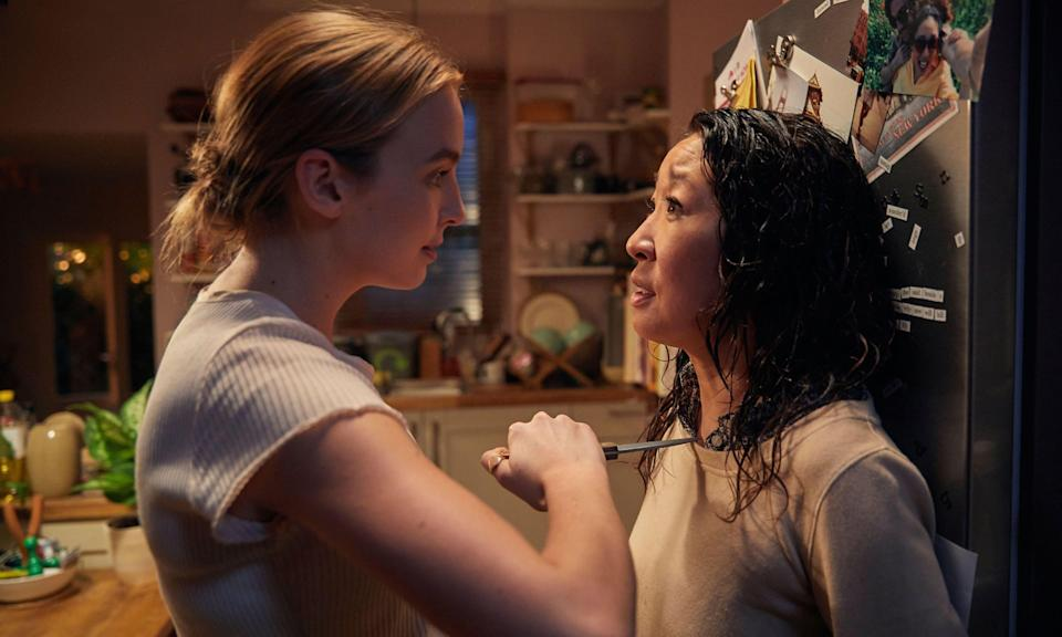 Jodie Comer as Villanelle with Sandra Oh as Eve (BBC One)