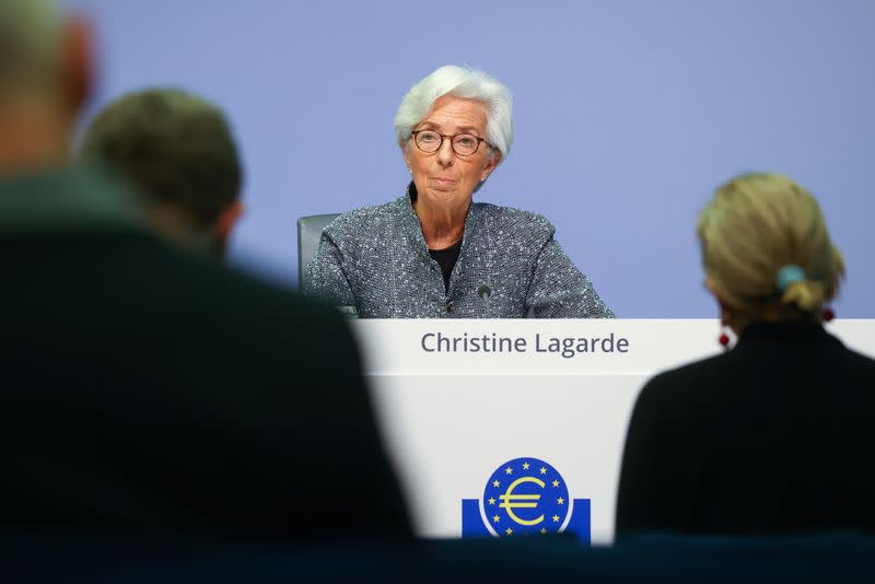 European Central Bank (ECB) President Christine Lagarde addresses a news conference on the outcome of the meeting of the Governing Council, in Frankfurt