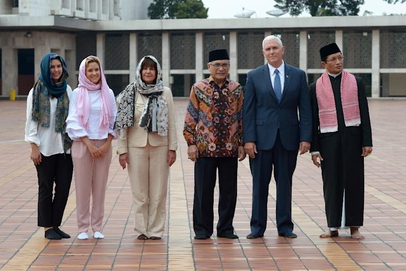 US Vice President Mike Pence and his family were taken on a tour of Istiqlal, Indonesia's biggest mosque, in Jakarta (AFP Photo/Adek BERRY)