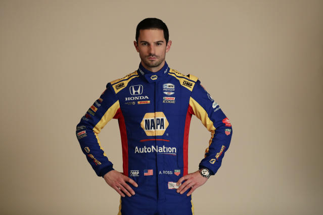 FILE - In this Feb. 10, 2020, file photo, IndyCar driver Alexander Rossi poses for photos during IndyCar Media Day in Austin, Texas. The IndyCar season starts with the Grand Prix of St. Petersburg on Sunday, March 15, 2020. (AP Photo/Eric Gay, File)