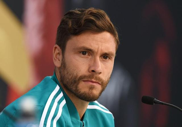 Germany's national football defender Jonas Hector attends a press conference in the media centre of the Rungghof training centre on June 7, 2018 in Eppan, northern Italy, ahead of the FIFA World Cup 2018 in Russia. (AFP Photo/Christof STACHE)