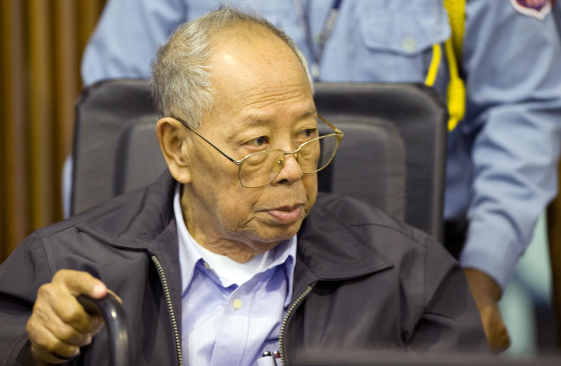 FILE - In this Nov. 23, 2011 file photo released by the Extraordinary Chambers in the Courts of Cambodia, former Khmer Rouge Foreign Minister Ieng Sary sits during the third day of a trial of the U.N.-backed war crimes tribunal in Phnom Penh, Cambodia.  Ieng Sary, who co-founded Cambodia's brutal Khmer Rouge movement in 1970s, served as its public face abroad and decades later became one of its few leaders to face justice for the deaths of well over a million people, died Thursday morning, March 14, 2013. He was 87. (AP Photo/Extraordinary Chambers in the Courts of Cambodia, Mark Peters) EDITORIAL USE ONLY