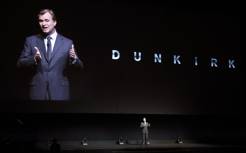 "Christopher Nolan, director of the upcoming film ""Dunkirk,"" discusses the film onstage during the Warner Bros. Pictures presentation at CinemaCon 2017 at Caesars Palace on Wednesday, March 29, 2017, in Las Vegas. (Photo by Chris Pizzello/Invision/AP)"