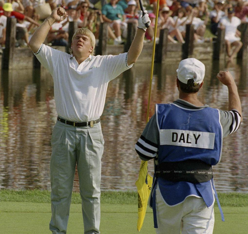 <p></p><p>Daly is known for his everyman personality and non-traditional attire on the golf course, but he first burst onto the scene with his shocking 1991 victory at Crooked Stick Golf Club in Indiana. Daly was a PGA Tour rookie and essentially a no-name at the time. The fact that he even played in the tournament was a miracle considering he was the ninth alternate and only made the field because of several last-minute dropouts. Daly was the very last man included in the field, but he wound up first place when all was said and done on Sunday. It's one of just two majors Daly has won in his career. </p><p></p>