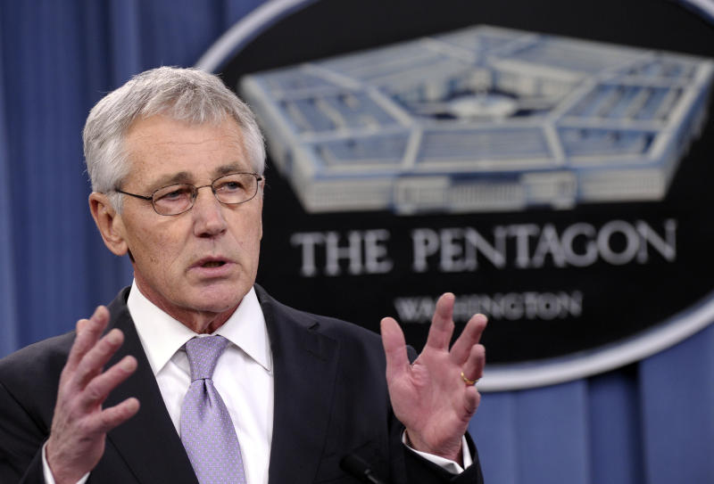 FILE - In this Jan. 24, 2014, file photo, Defense Secretary Chuck Hagel speaks at the Pentagon in Washington. Hagel is ordering military leaders to put a renewed emphasis on moral behavior across the force following a series of ethical lapses that have included cheating scandals among the Navy and Air Force's nuclear missions. (AP Photo/Susan Walsh, File)