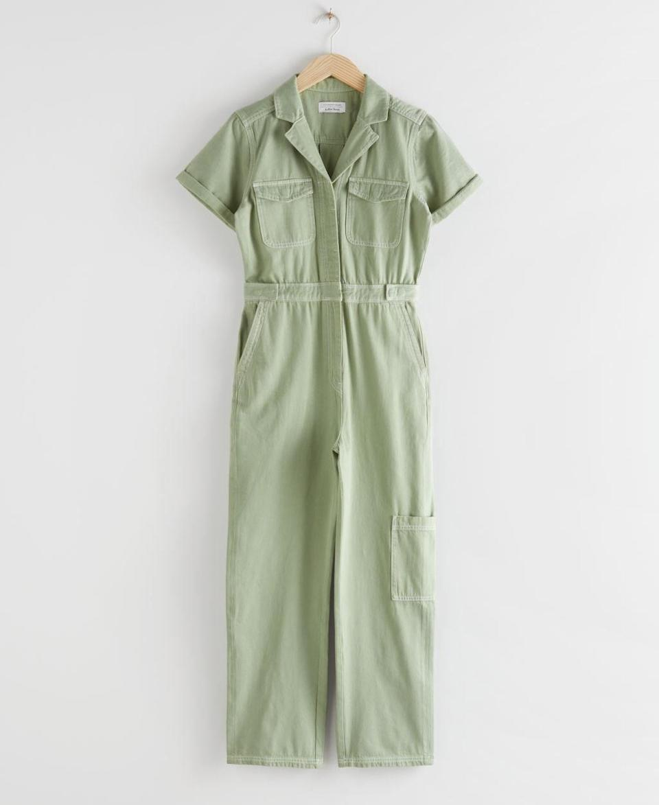 """Sometimes, putting together a full outfit is just too much, so reach for this jumpsuit when you need a one-and-done look. $99, & Other Stories. <a href=""""https://www.stories.com/en_usd/clothing/jumpsuits-playsuits/product.denim-workwear-jumpsuit-green.0840175002.html"""" rel=""""nofollow noopener"""" target=""""_blank"""" data-ylk=""""slk:Get it now!"""" class=""""link rapid-noclick-resp"""">Get it now!</a>"""