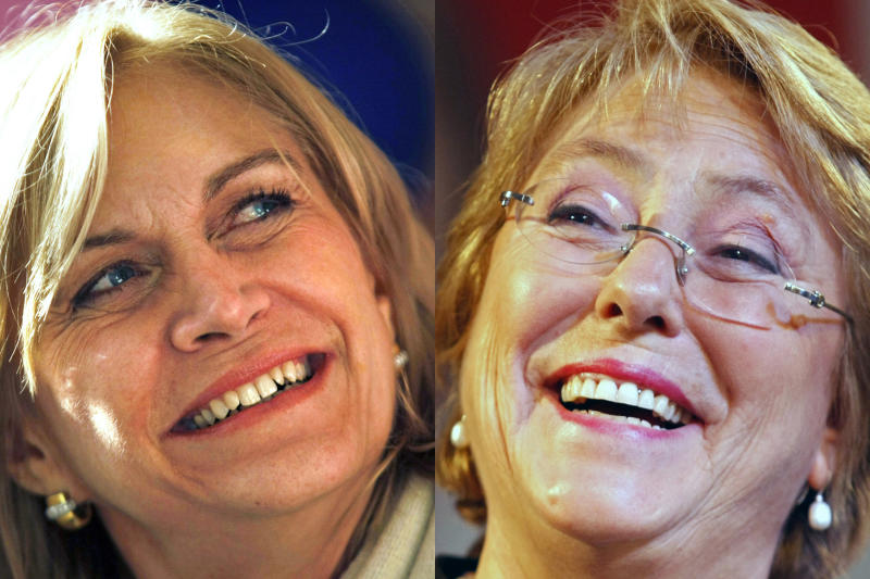 This combination of two 2013 photos shows Chilean presidential candidates Evelyn Matthei, left, and former President Michelle Bachelet. Their history is the history of Chile. Childhood friends whose fathers became top generals, they were thrust onto opposite sides of the country's deep political divide. Bachelet's father loyally served socialist President Salvador Allende before and after the 1973 coup ended one of Latin America's oldest democracies. Matthei's father ran the military school where Gen. Alberto Bachelet was tortured to death for refusing to line up behind the dictator, Gen. Augusto Pinochet. They have remained cordial ever since, through long political careers on the left and the right. But their good graces will be tested like never before now that they're facing off in the Nov. 17 general election, the first presidential race between two women in Chile's history. (AP Photo/Luis Hidalgo, File)