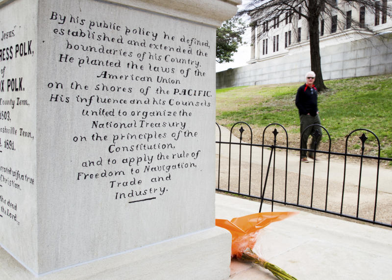 The burial place of President James K. Polk and his wife, Sarah Polk, is seen on the grounds of the state Capitol in Nashville, Tenn., on Friday, March 24, 2017. A resolution being considered in the state Legislature calls for exhuming their bodies and moving them to the James K. Polk Home and Museum in Columbia, Tenn. (AP Photo/Erik Schelzig)