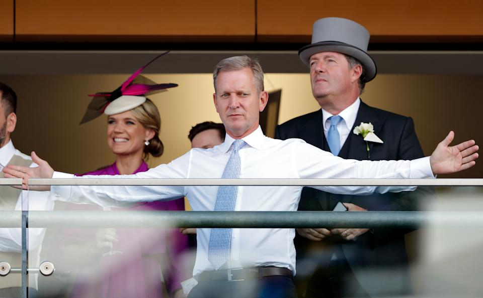 Charlotte Hawkins, Jeremy Kyle and Piers Morgan watch the racing at Royal Ascot on June 20, 2018. (Photo by Max Mumby/Indigo/Getty Images)