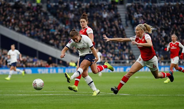 Tottenham Hotspur's Kit Graham in action with Arsenal's Leah Williamson Action Images via Reuters/Matthew Childs