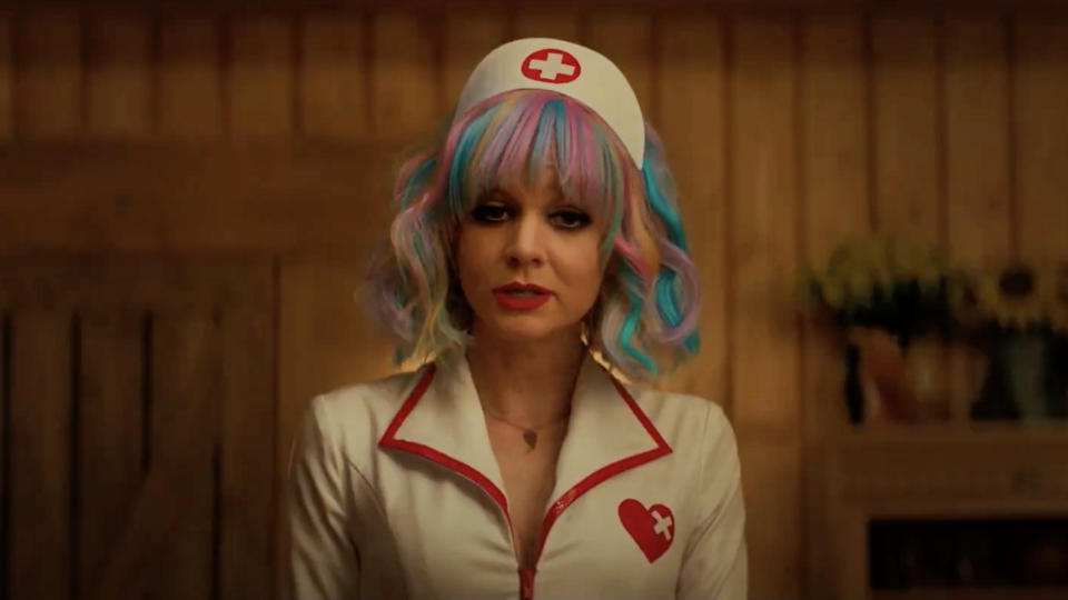"""Despite premiering almost a year ago at the Sundance Film Festival, general audiences have not had chance to see director Emerald Fennell's Me Too-inflected black comedy. Carey Mulligan is the titular woman, who acts as an unusual vigilante, skewering the latent misogyny of """"nice guys"""" who try to take advantage of her. (Credit: Focus Features/Universal)"""