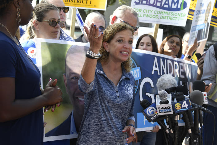 <p>Congresswoman Debbie Wasserman Schultz answers questions from the press after voting in Hollywood, Fla., Friday, Oct. 26, 2018, about the suspected packages found at her offices in Sunrise and Aventura Thursday. (Photo: Taimy Alvarez/South Florida Sun-Sentinel via AP) </p>