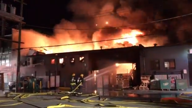 3-alarm fire consumes East Vancouver print shop