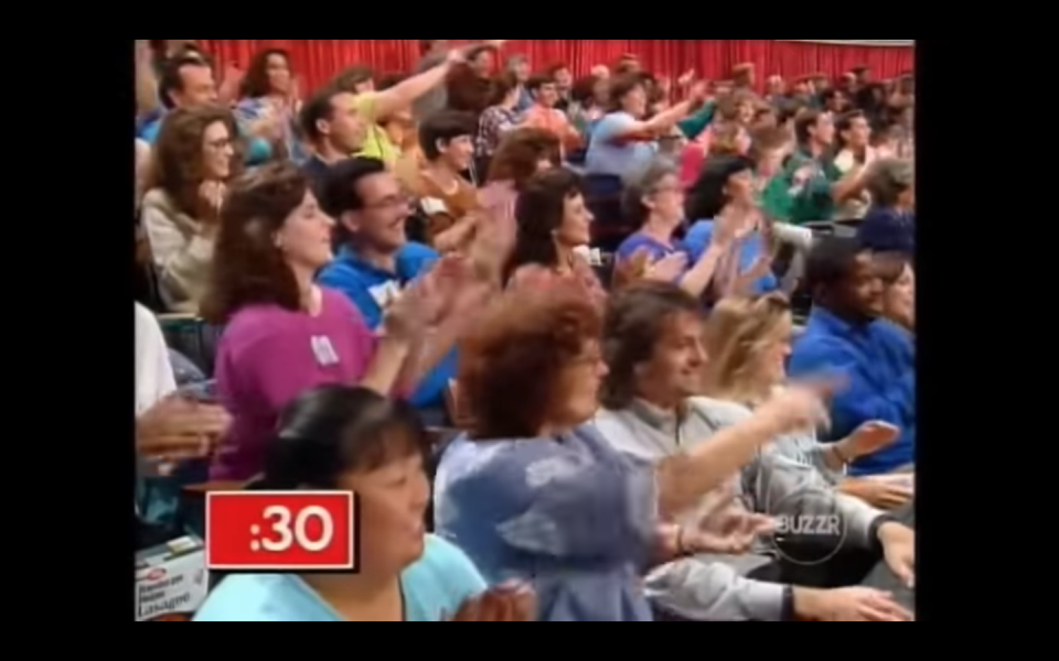"""<p>Although it appears that we have parted with David and the contestants for only a commercial break, in reality each segment–the introduction, question round, the Big Sweep, and Bonus Sweep–are all filmed individually. """"So you had 48 people just in a room, and the first thing they tape is your introduction where you run down to the camera and everybody gets introduced to [host] David Ruprecht. He is asking you questions and all that, and then you leave. And then the other seven groups did that, and then they call you back and you tape the first segment,"""" Futia <a href=""""https://tv.avclub.com/what-was-it-like-to-be-on-supermarket-sweep-1798271210"""" rel=""""nofollow noopener"""" target=""""_blank"""" data-ylk=""""slk:explained of his experience filming"""" class=""""link rapid-noclick-resp"""">explained of his experience filming</a>.</p>"""