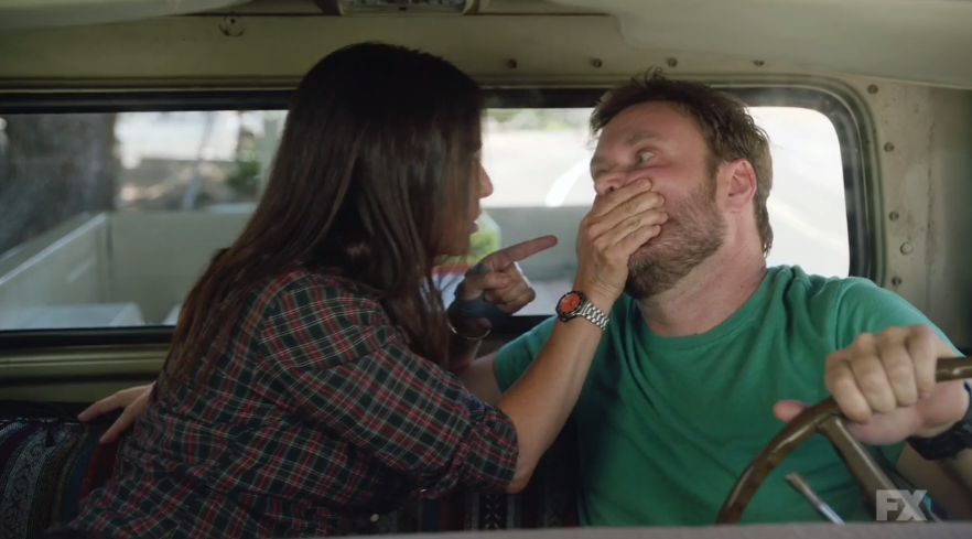 """<p>We've seen it dozens of times before: a scene between a woman and man who are platonic friends, the guy makes a move, and she turns him down. But Pamela Adlon elevates this typical bit by basically saying just one word, repeated over and over again: """"No."""" After Jeff attempts to kiss her in the truck, Sam pounces on him, covering his mouth and growling """"No, no, no … no!"""" with different inflections. She shakes his head, points her finger at him, turns off the radio, and stares straight into his eyes. —<em>KW</em><br> (Photo: FX) </p>"""