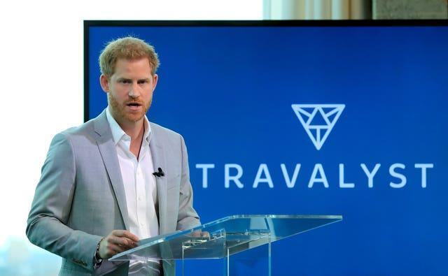 The Duke of Sussex speaking at the launch of Travalyst in 2019. Gareth Fuller/PA Wire