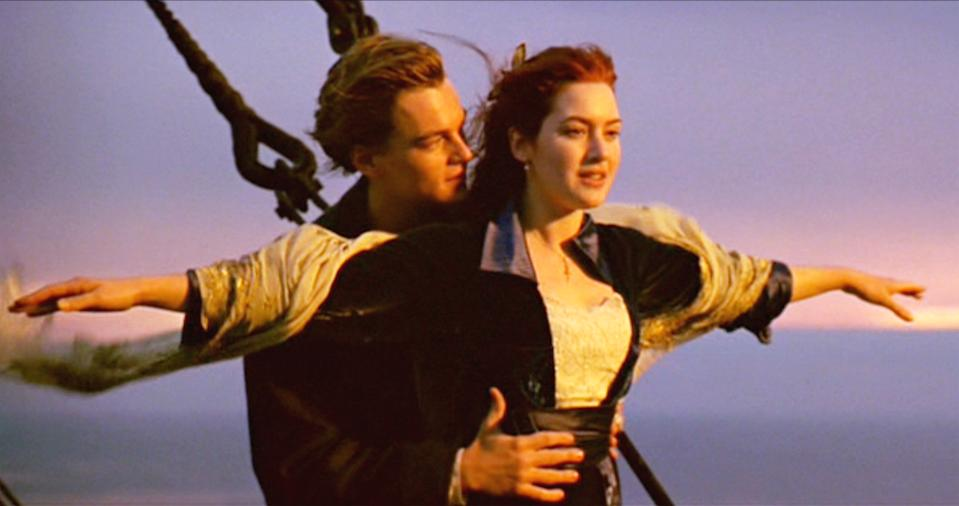 "LOS ANGELES - DECEMBER 19: The movie ""Titanic"", written and directed by James Cameron. Seen here from left, Leonardo DiCaprio as Jack and Kate Winslet as Rose. Initial USA theatrical wide release December 19, 1997. Screen capture. Paramount Pictures. (Photo by CBS via Getty Images)"