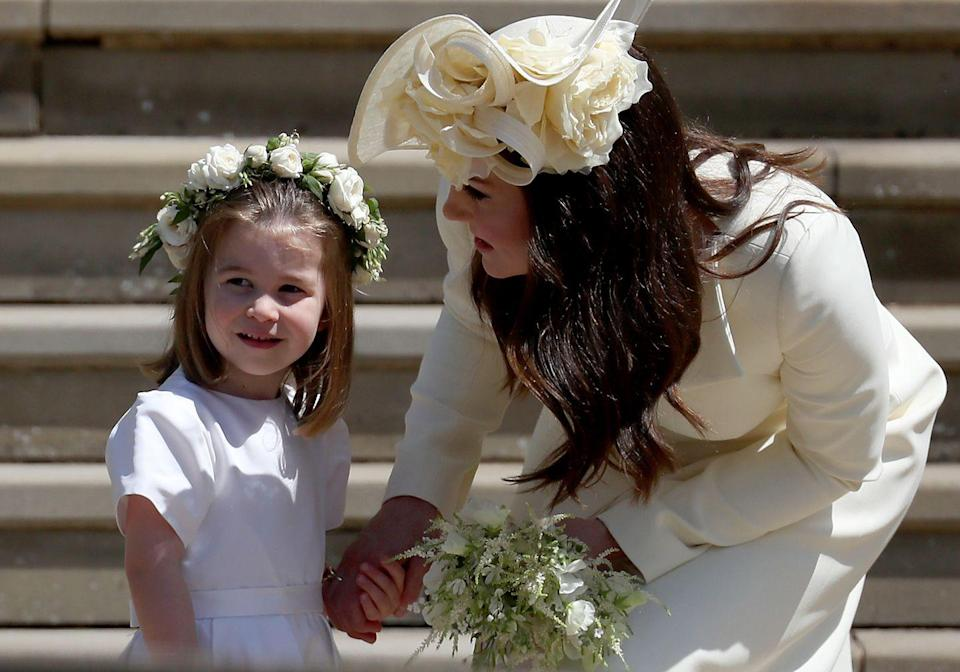 """<p>In our mind, princess equals tiaras, but per royal protocol, tiaras are <a href=""""https://honey.nine.com.au/latest/british-royal-family-tiaras/d5509756-abfc-417a-b2b9-45ab2f343767"""" rel=""""nofollow noopener"""" target=""""_blank"""" data-ylk=""""slk:reserved for married royal women"""" class=""""link rapid-noclick-resp"""">reserved for married royal women</a>. Poor Charlotte!</p>"""
