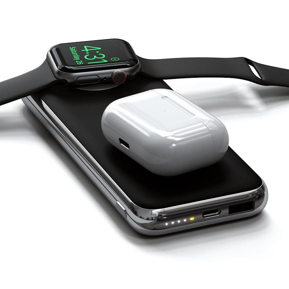 <p>Charge your watch, phone, or earbuds wirelessly with this <span>Satechi Quatro Wireless Power Bank</span> ($100).</p>