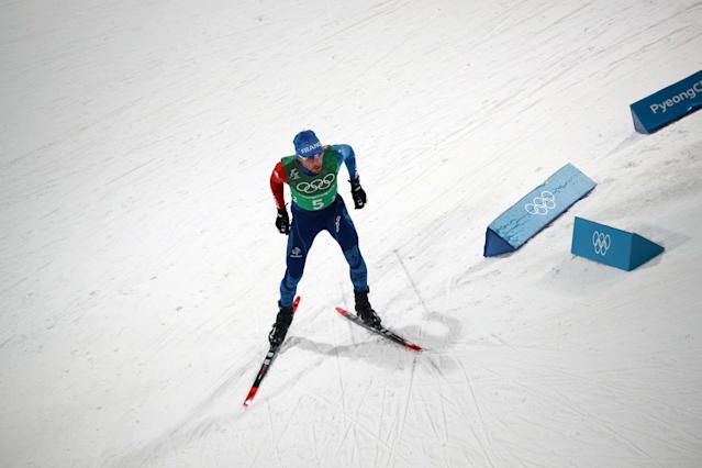 Nordic Combined Events - Pyeongchang 2018 Winter Olympics - Men's Team 4 x 5 km Final - Alpensia Cross-Country Skiing Centre - Pyeongchang, South Korea - February 22, 2018 - Francois Braud of France competes. REUTERS/Carlos Barria