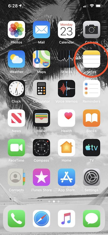 <p>First, select the Notes app from your iPhone home screen.</p>