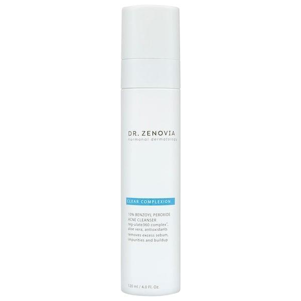 """<p>This <span>Dr. Zenovia Skincare 10% Benzoyl Peroxide Acne Cleanser</span> ($30) has a stronger - 10 percent - dose of benzoyl peroxide, plus bakuchiol and <a href=""""https://www.popsugar.com/beauty/Red-Wine-Beauty-Products-44491085"""" class=""""link rapid-noclick-resp"""" rel=""""nofollow noopener"""" target=""""_blank"""" data-ylk=""""slk:resveratrol"""">resveratrol</a> to reduce excess sebum. Not only does the face wash visibly reduce the appearance of existing breakouts (and reduce future ones), there's also medical-grade aloe vera inside to soothe hormonally imbalanced skin at the same time.</p>"""