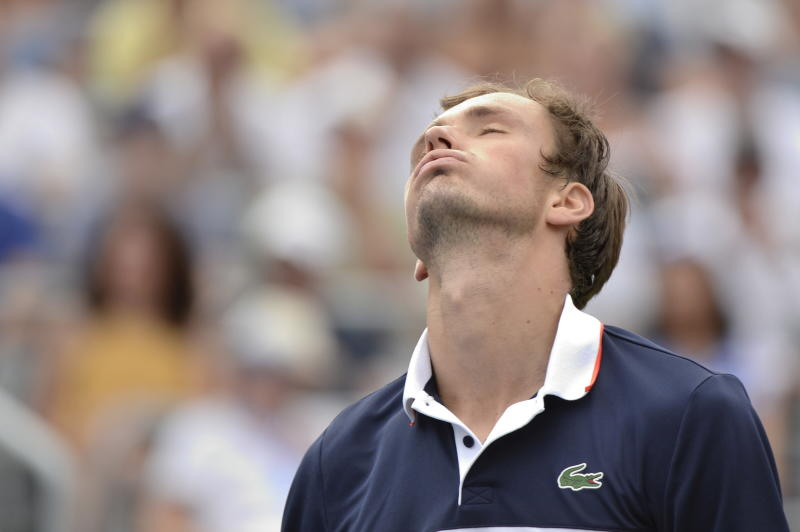 Russia's Daniil Medvedev reacts after a missed point against Spain's Rafael Nadal during the final of the Rogers Cup tennis tournament in Montreal, Sunday, Aug. 11, 2019. (Paul Chiasson/The Canadian Press via AP)