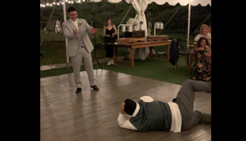 Sam Ferrell, 15, challeged the groom to an epic dance battle this weekend and the heartwarming moment was captured on video. (Photo: Matt Ferrell)