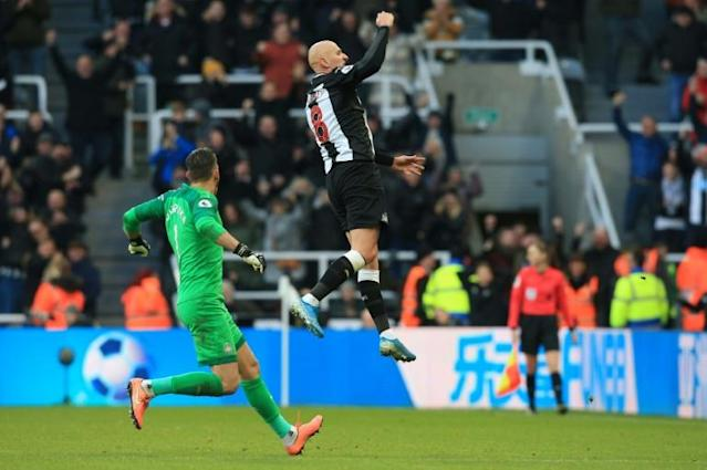 Shelvey stunner: Jonjo Shelvey celebrates his late equaliser against Manchester City (AFP Photo/Lindsey Parnaby)