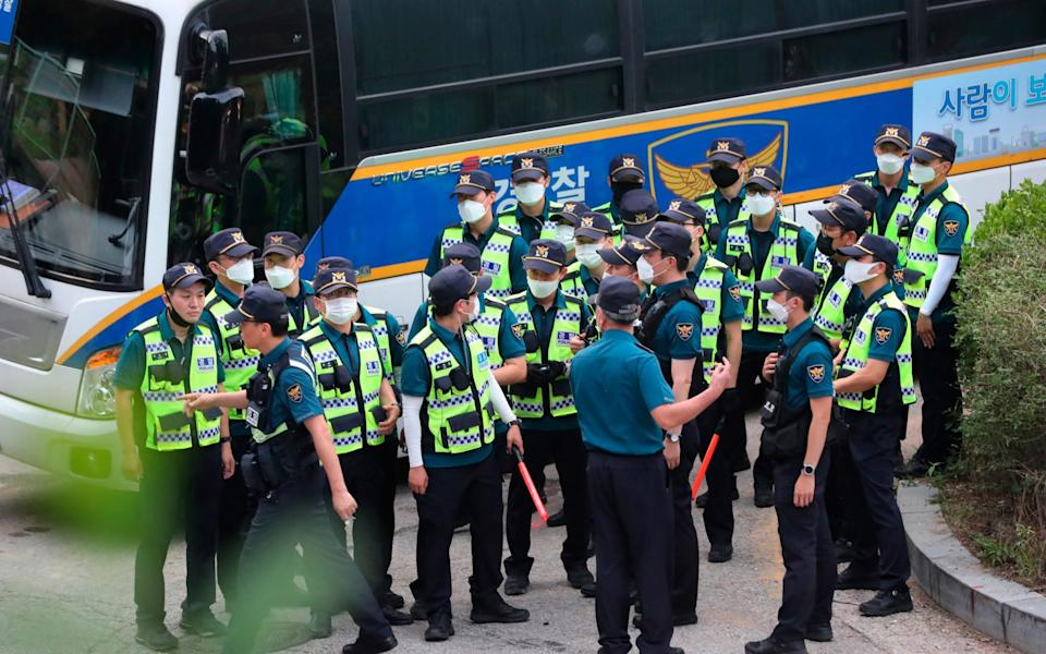 Over 100 police officers have been brought in to be part of the search - Kim Ju-sung/Yonhap