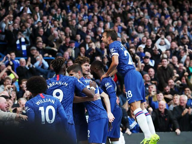 Chelsea celebrate after Marcos Alonso scores: Reuters