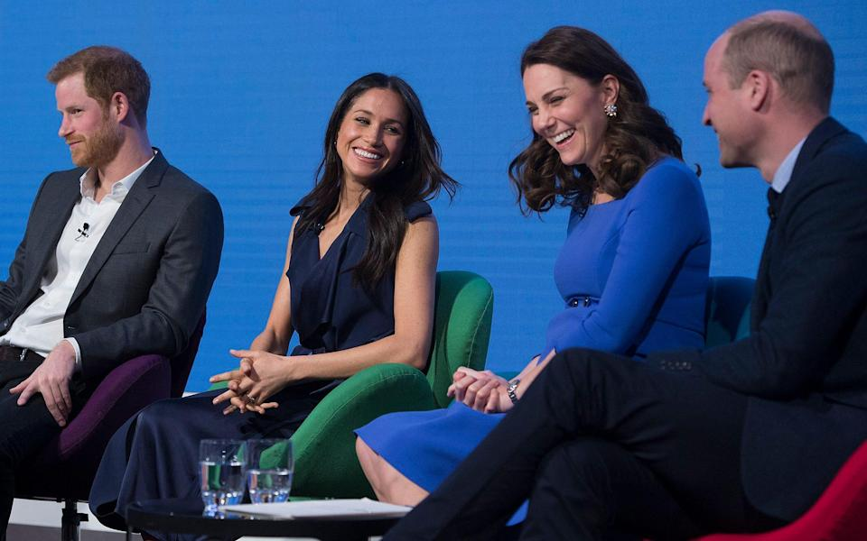 The Duke and Duchess of Cambridge, Prince Harry and Meghan Markle at the first (and last) Royal Foundation Forum - Eddie Mulholland