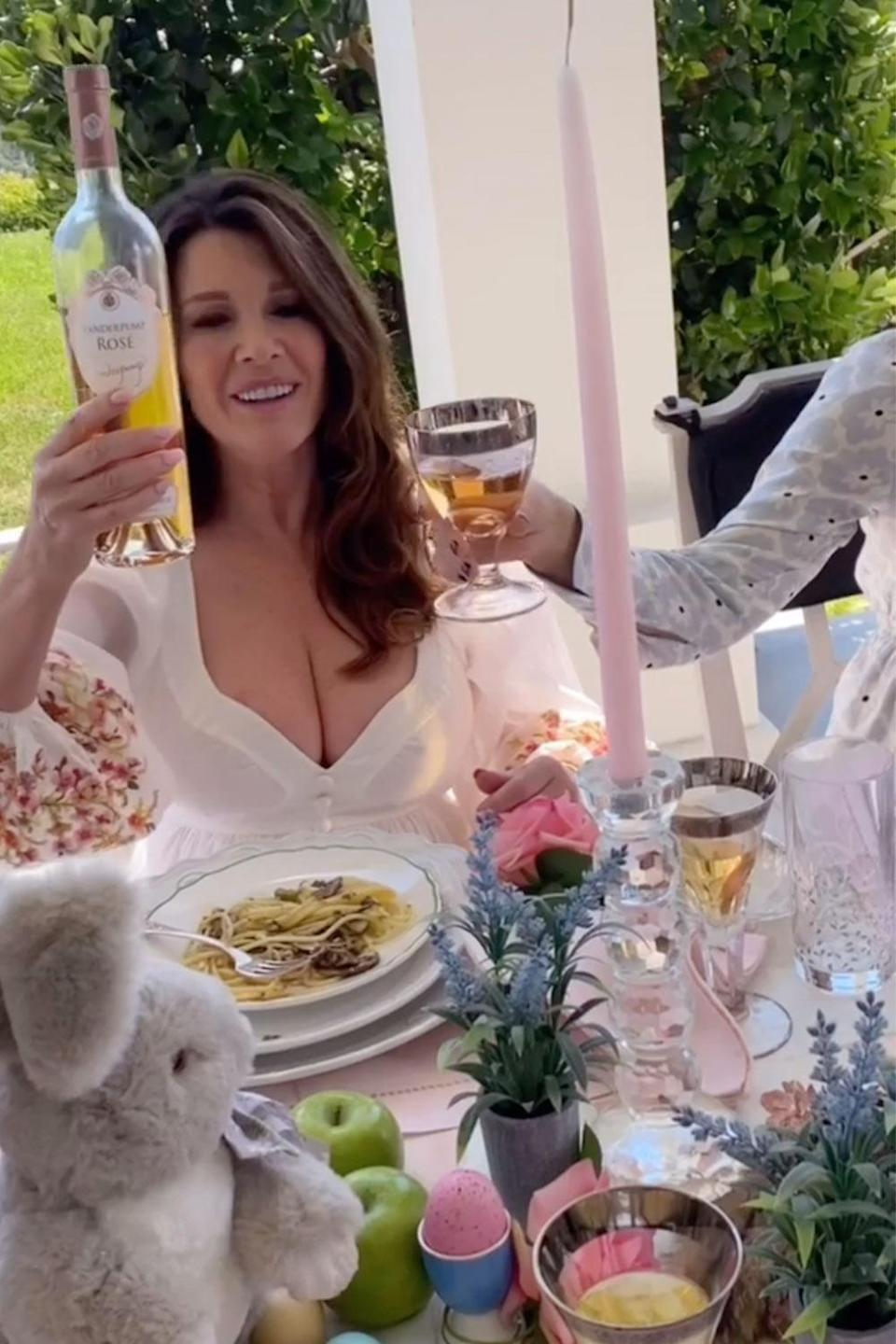 "<p>What a spread! The former <em><a href=""https://people.com/tag/real-housewives-of-beverly-hills/"" rel=""nofollow noopener"" target=""_blank"" data-ylk=""slk:Real Housewives of Beverly Hills"" class=""link rapid-noclick-resp"">Real Housewives of Beverly Hills</a></em> star shared her lavish Easter brunch, which included truffle pasta and lots of wine.</p>"