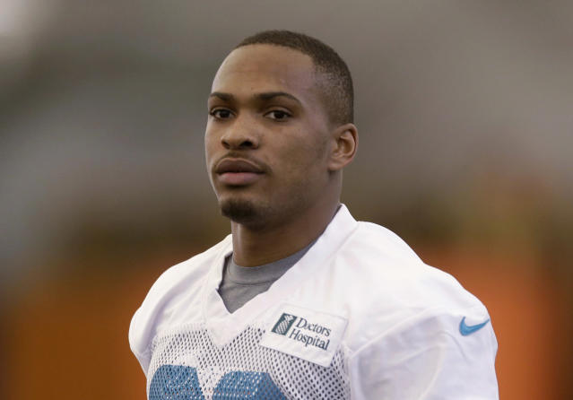 FILE - In this May 3, 2013, file photo, Miami Dolphins' Don Jones runs during NFL football rookie minicamp in Davie, Fla. A negative one-word tweet from Jones about the drafting of Michael Sam drew a rebuke from the team. (AP Photo/Alan Diaz, File)