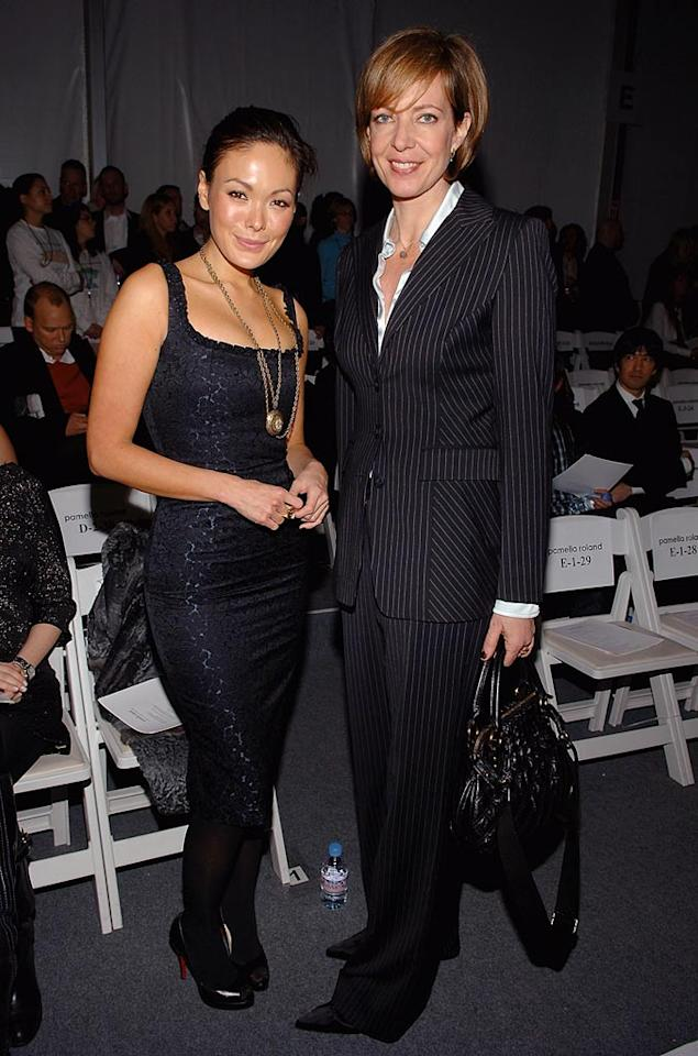 """Lipstick Jungle"" star Lindsay Price and ""Juno's"" Allison Janney chat before the Pamella Roland show begins. Jamie McCarthy/<a href=""http://www.wireimage.com"" target=""new"">WireImage.com</a> - February 4, 2008"