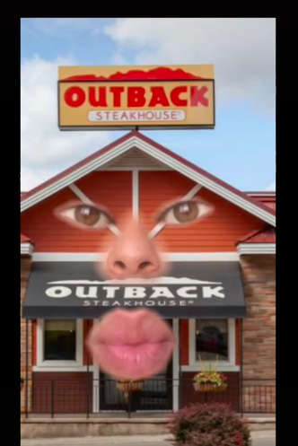 a mouth super imposed on an outback steakhouse